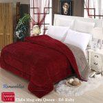 Chăn lông cừu queen đỏ ruby