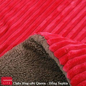 Chăn lông cừu queen hồng saphia